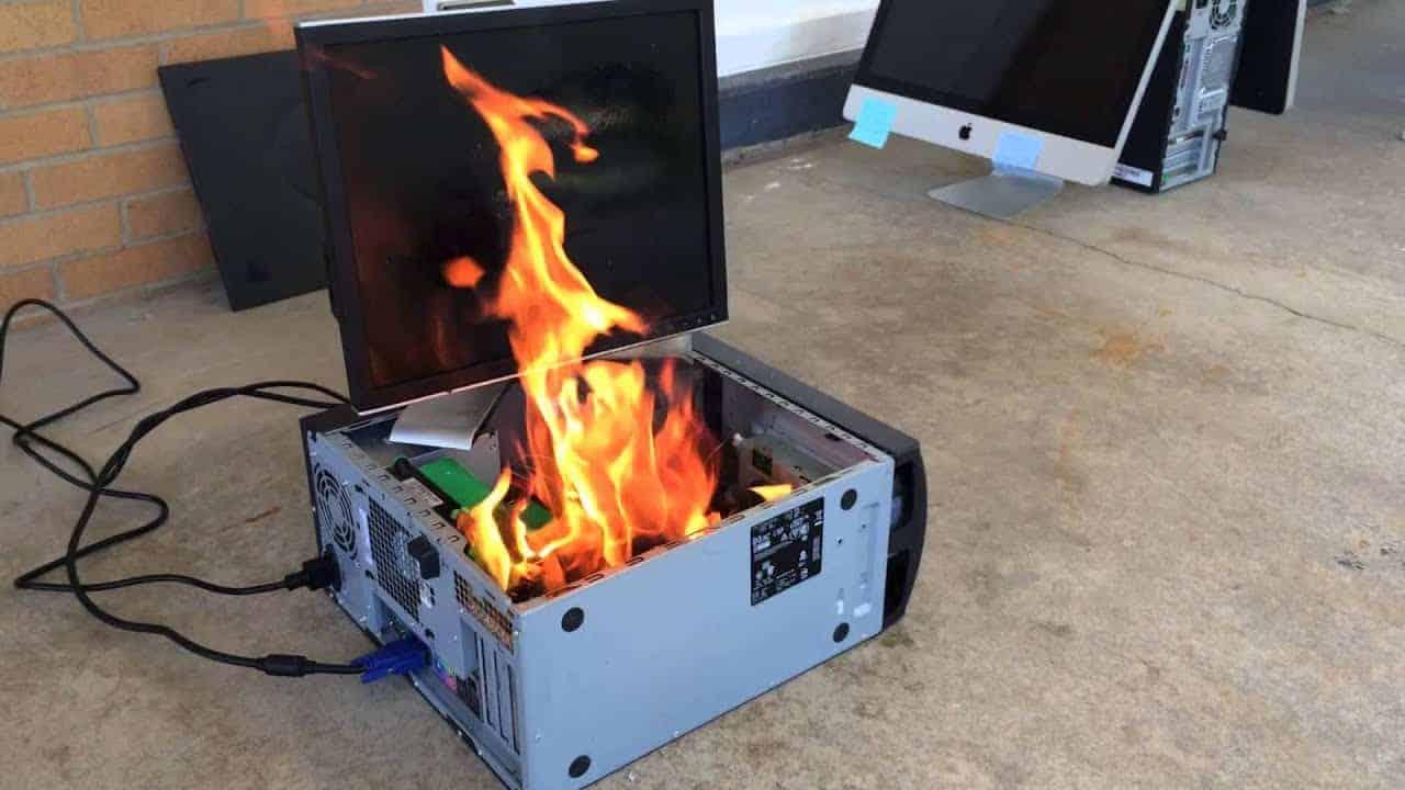 computer under fire
