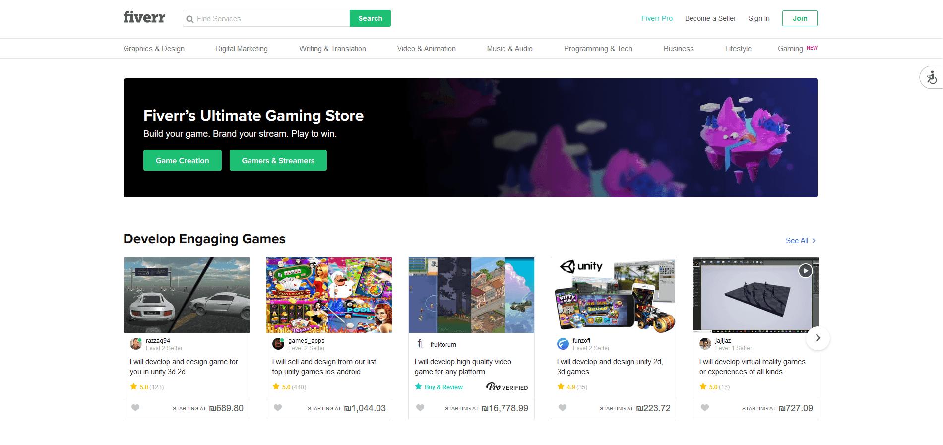 fiverr gaming website